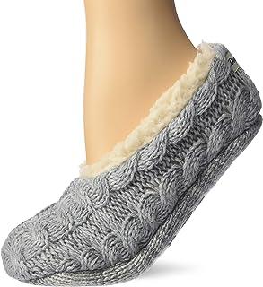 Dearfoams - Scarpe da donna Space-Dye Cable Knit Toasty Slipper Sock. Scarpe da casa da donna, comode e morbide con memory...