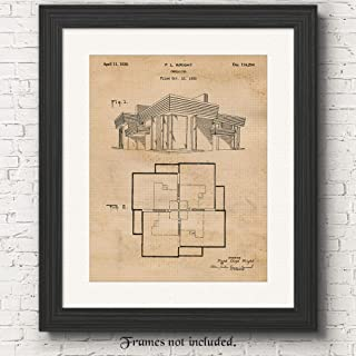 Original Frank Lloyd Wright House Patent Poster Prints, Set of 1 (11x14) Unframed Photo, Wall Art Decor Gifts Under 15 for Home, Office, Garage, Man Cave, College Student, Teacher, Architect Fan