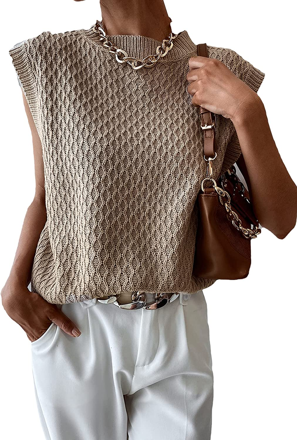 SheIn Women's Argyle Sweater Vest Sleeveless Casual Round Neck Oversized Knit Pullover Tops