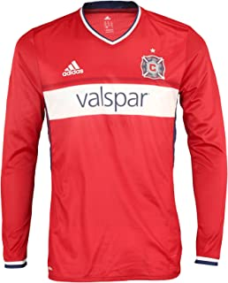 adidas MLS Soccer Chicago Fire Men's Long Sleeve Authentic Jersey, Red