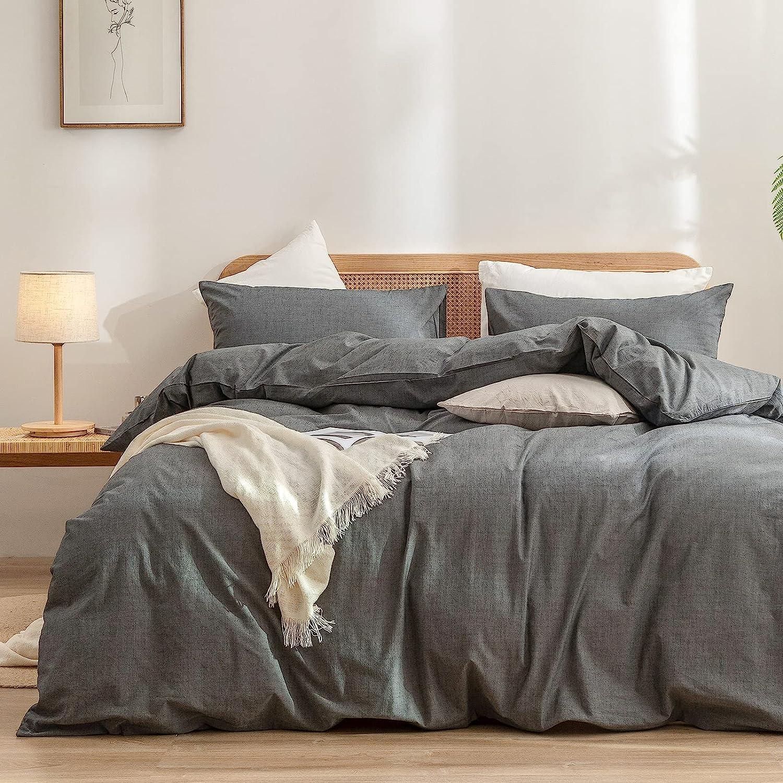 BESTOUCH Duvet Cover Set 100% Washed Cotton Linen Feel Super Soft Comfortable Chic Lightweight 3 PCs Home Bedding Set Solid Dark Grey King