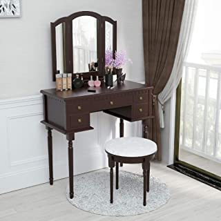 Mecor Vanity Table Set,Makeup Table w/Tri-Folding Mirror, Wood Dressing Table and 5 Drawers&Round Cushioned Stool,Girls Women Bedroom Makeup Furniture Brown