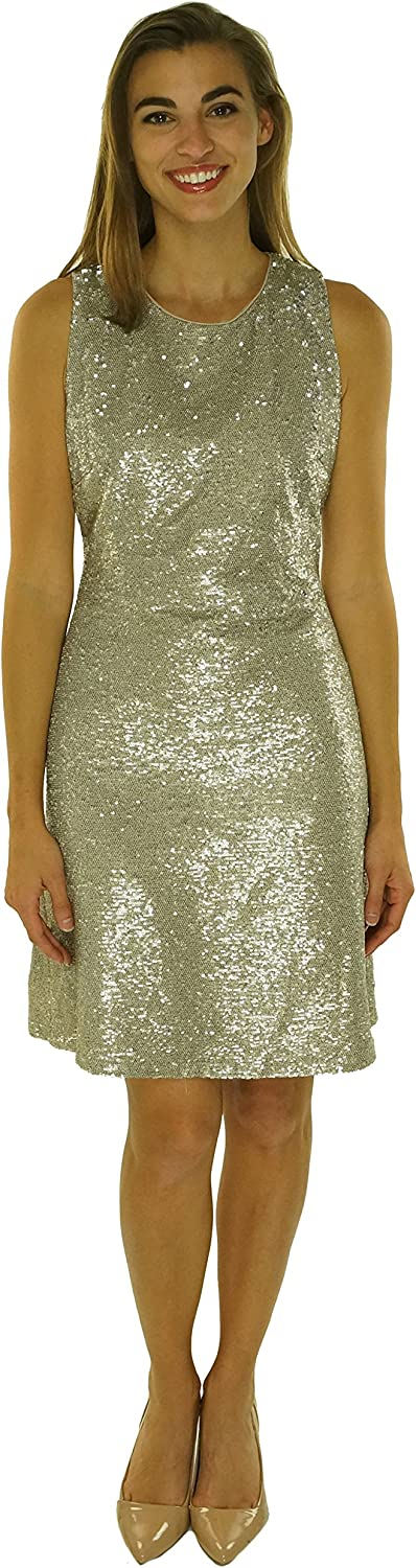 Tommy Hilfiger Womens Sequined Two-Toned Cocktail Dress Beige 6
