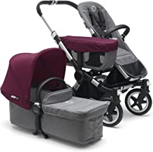 Bugaboo Donkey 2 Mono Baby Stroller, Foldable Stroller, Converts into Twin Side-by-Side Sibling Stroller, from Birth Baby Stroller, Infant Stroller, Multiple Seat Positions, Grey/Red