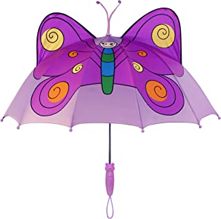 Purple Butterfly Umbrella for Girls w/Fun Butterfly Handle, Pop-Up Wings, Antennae, 1 Size