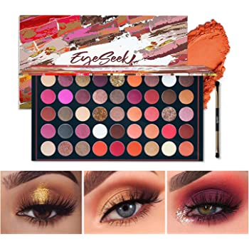 EYESEEK Matte Eyeshadow Palette Makeup Brushes Set 45 Shades Shimmer Smoky Glitter Eyeshadow Pallet High Pigmented Metallic Makeup Palette Long Lasting Waterproof Eye Shadow #Brown