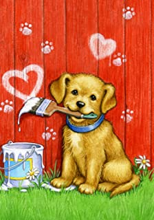 Toland Home Garden Painter Puppy 12.5 x 18 Inch Decorative Cute Dog Valentine Heart Garden Flag - 112088