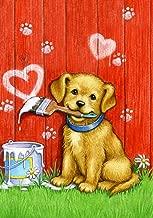 Toland Home Garden Painter Puppy 28 x 40 Inch Decorative Cute Dog Valentine Heart House Flag - 102088