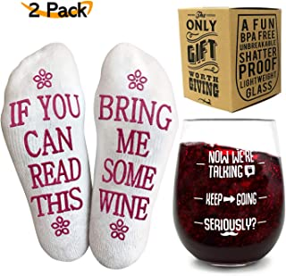 Funny Wine Glass + Wine Socks - Funny Gifts for Women with an UNBREAKABLE 16 oz / 450ml, BPA Free Funny Wine Glass wine gift with Funny Wine Socks