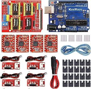 KeeYees CNCシールドキット CNCシールドV3.0 + A4988モータドライバ + R3開発ボード + ヒートシンク + USBケーブル + Endstopリミットスイッチ + ジャンパーピン + DC電源ラインメス