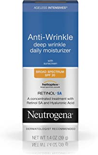 Neutrogena Ageless Intensives Anti Wrinkle Cream - Facial Moisturizer with SPF 20 Sunscreen, Retinol and Hyaluronic Acid to Fight Signs of Aging, Retinol, Hyaluronic Acid, Glycerin 1.4 oz