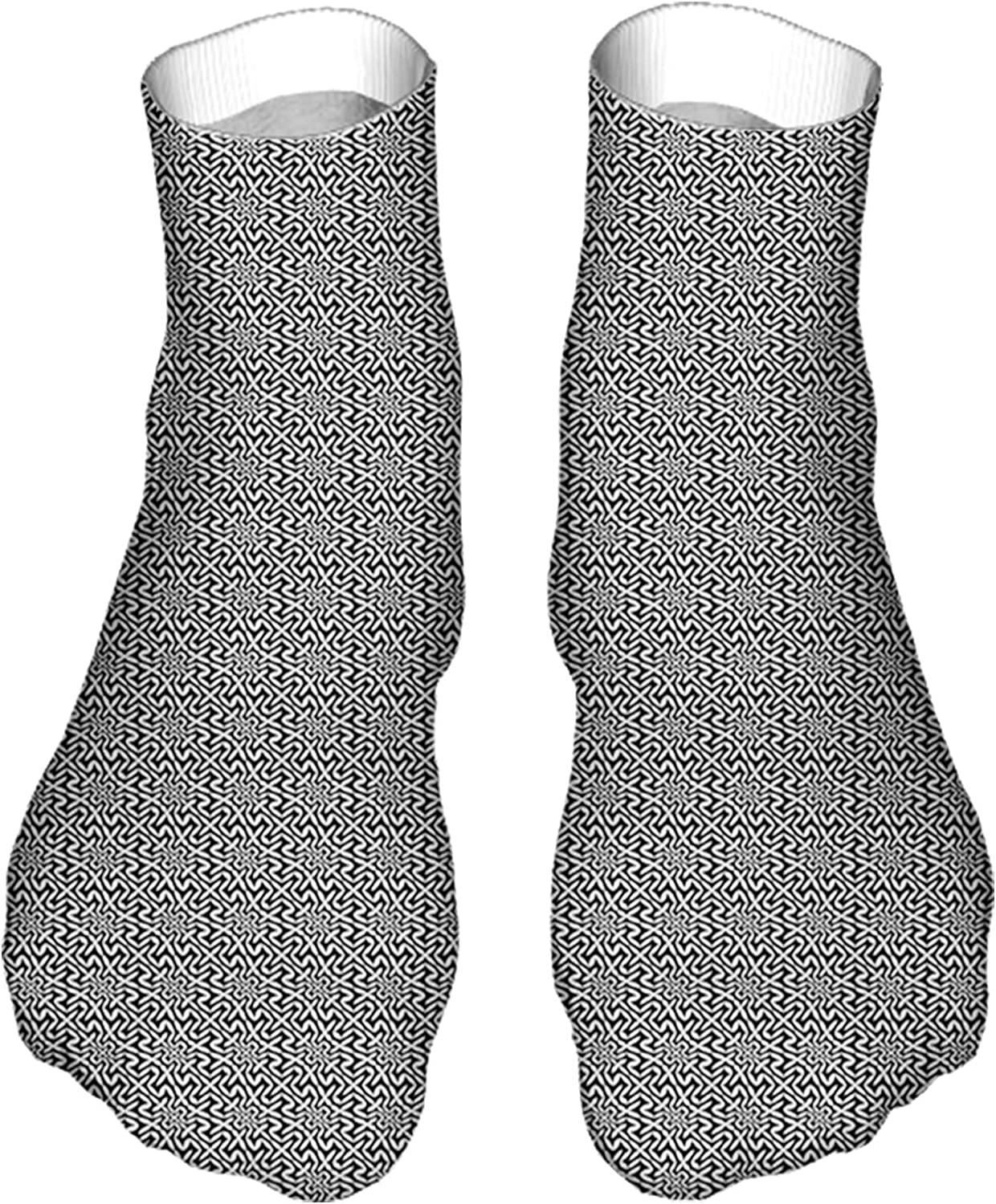 Women's Colorful Patterned Unisex Low Cut/No Show Socks,Hipster Abstract Geometry Pattern White Leaf-Like Oval Shap