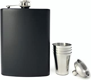 TheBarsentials Gift Set Premium 8oz Hip Flask Leakproof Stainless Steel for Liquor with 4 Drinking Shot Glass and Funnel with Box for Men and Women (Matte Black)