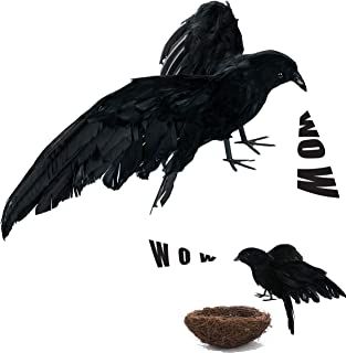 Crows Halloween Decorations, Realistic Lifesize Crow Flared Wings and Wild Grass Nest for Halloween Outdoors and Indoors Decorations Black Feathered Birds