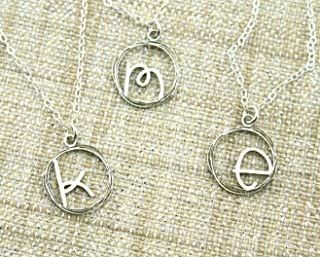 Sterling Silver Dainty Initial Necklace - Silver Initial Necklace - Unique Initial Jewelry - Custom Initial - By Emily Jane Designs