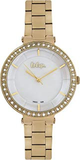 Lee Cooper Women's Analog Gold Case Gold Super Metal Strap MOP White Dial -LC06560.120