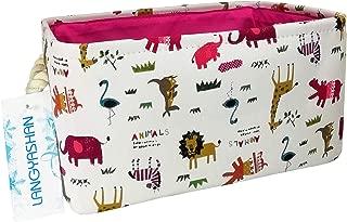 Rectangular Storage Basket Collapse Canvas Fabric Cartoon Nursery Hamper with Handles for Organizing Home/Kitchen/Kids Toy/Office/Closet/Shelf Baskets(Animals)