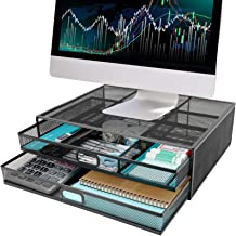 Monitor Stand Riser with Drawer - Wellerly Metal Mesh Desk Organizer - Dual Pull Out Storage Drawer for Computer, PC, Lapt...