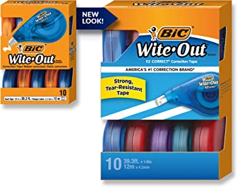 BIC Wite-Out Brand EZ Correct Correction Tape, White, 18-Count, Translucent Dispenser Shows How Much Tape is Remaining