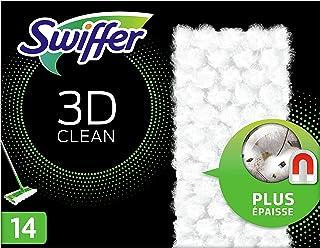 Swiffer Balai Attrape-Poussière 3D Clean Recharges Lingettes Sèches, 14 Lingettes Nettoyantes, Attrape et Retient la Pouss...