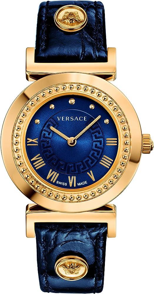 Versace, orologio da donna, in acciaio con rivestimento ip in oro giallo 18 carati, cinturino in pelle P5Q80D282 S282