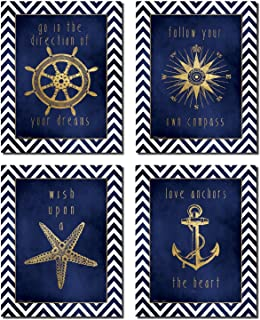 Beautiful Gold and Blue Chevron Inspirational Nautical Prints; Four 8x10in Poster Prints
