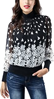 AVTOSRNO Women's Long Sleeve Mock Neck Pleated Front Chiffon Tunic Fitted Blouse Tops