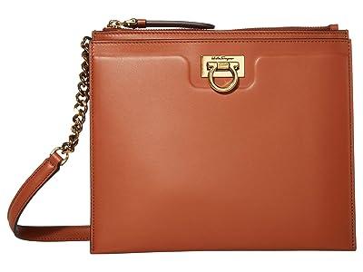 Salvatore Ferragamo Gancio Square Crossbody (Siena Tan) Handbags