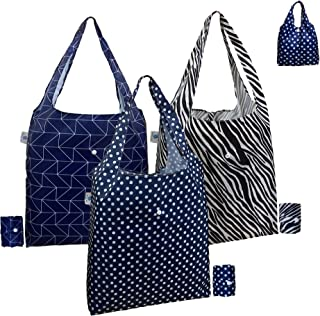 Reusable Shopping Bags for Grocery, 3 Pack Large 40LBS Bulk Foldable Reusable Tote Grocery Bags 100% Polyester Fabric Mach...