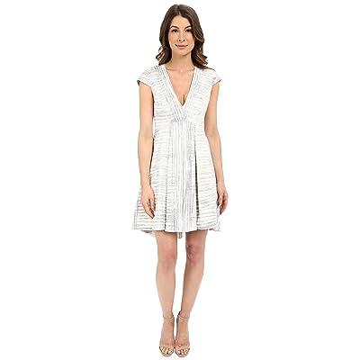 Halston Heritage Cap Sleeve V-Neck Printed Structured Dress (Flint Engineered Stripe Print) Women