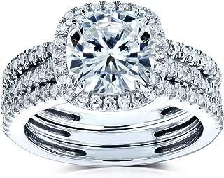 Kobelli Cushion Brilliant Moissanite Halo Bridal Wedding Rings Set 2 1/2 CTW 14k White Gold
