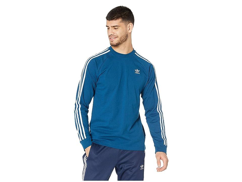 Image of adidas Originals 3-Stripes Long Sleeve Tee (Legend Marine) Men's T Shirt