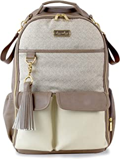 Itzy Ritzy Diaper Bag Backpack – Large Capacity Boss Backpack Diaper Bag Featuring Bottle Pockets, Changing Pad, Stroller Clips and Comfortable Backpack Straps, Taupe Herringbone