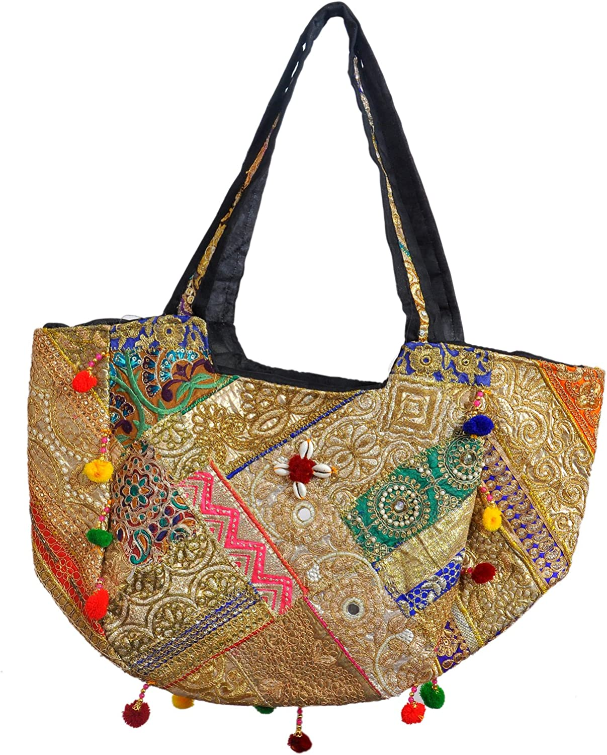 Gujarati embroidered golden shoulder bag handcrafted by Indian artisans - Christmas Collection 2021