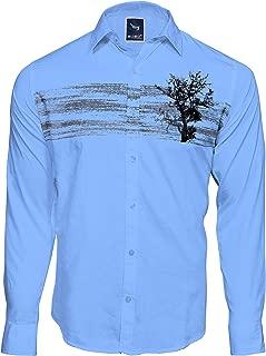 Men`S Casual Designed Cotton Printed Sky Blue Shirt