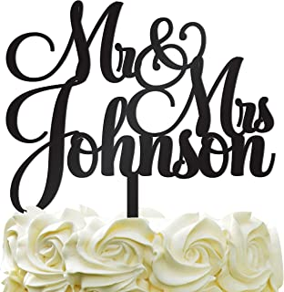 Personalized Wedding Cake Topper Wedding Cake Decoration Customized Mr Mrs Last Name To Be Bride Groom script font Color Acrylic