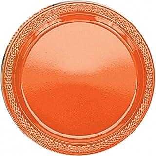 (アムスキャン) Amscan カラー 使い捨て プラスチック皿 (20枚入) (9in) (オレンジ)