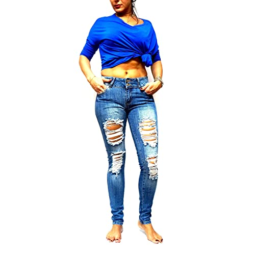 1de6cc672d0 Jack David  Rue21 Juniors Womens Blue Denim Jeans Destroy Skinny Ripd  Distressed Pants
