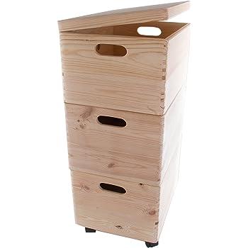Search Box Juego de Tres Grandes apilables Cajas con Ruedas en el ...