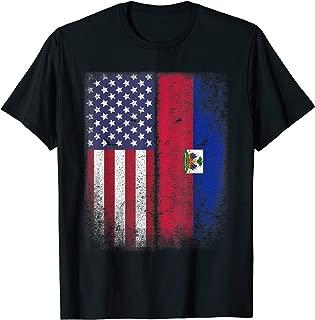 Haitian American Flag Half Haiti Usa Pride Gift  T-Shirt