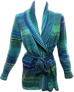 Fantasie Terrene Cardigan Cappotto Donna Fatto a Maglia in Lana di Alta qualità con Cintura in Lana. Multicolore. Made in ...