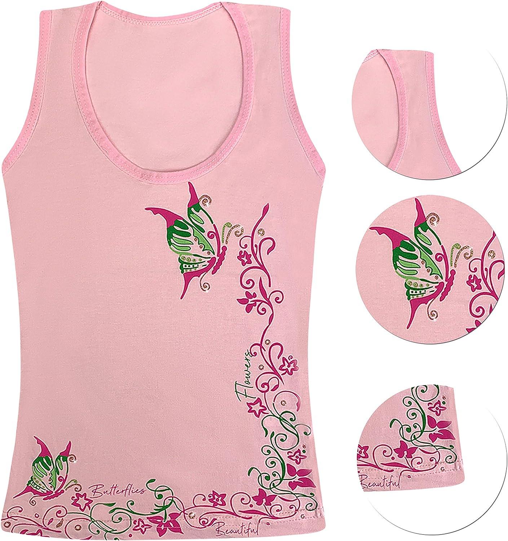 2-13 Years LOREZA /® 5 Pieces Girls Cotton Undershirts Tank top Children Sleeveless Various Motives