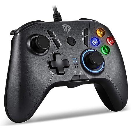 【2021最新版】EasySMX 有線PS3/PCゲームパッド パソコンゲーミングコントローラー 連射・振動・LEDライト・背面ボタン機能搭載 Windows/PS3/Switch/Android/TV Boxに対応(ブラック)