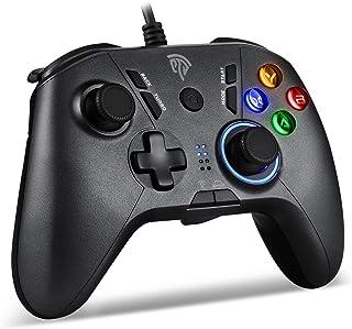 【2021最新版】有線PS3/PCゲームパッド パソコンゲーミングコントローラー Turbo連射 HD振動 背面ボタン LEDライト搭載 Windows/PS3/Switch/Android/TV Boxに対応(ブラック)