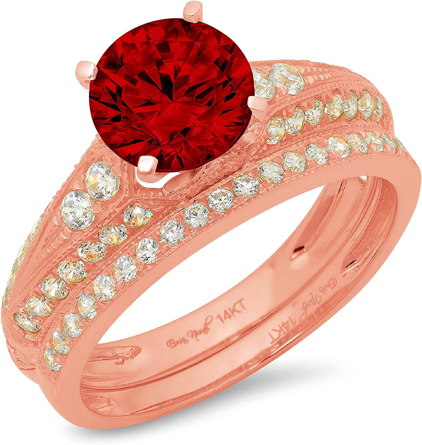 Clara Pucci 2.10ct Round Cut Pave Solitaire Accent Genuine Flawless Natural Red Garnet Engagement Promise Statement Anniversary Bridal Wedding Ring Band set Solid 18K Pink Rose Gold