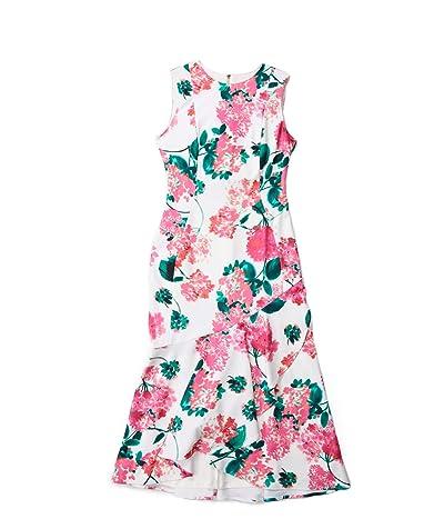 Calvin Klein Floral Print Ruffle Hem Midi Dress (Lipstick Multi) Women
