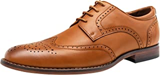 VOSTEY Men's Dress Shoes Brown Classic Derby Wingtip Brogue Men Oxfords (15,Yellow Brown)