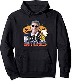 Funny Drunk Ronald Reagan Halloween Beer Drinking Pullover Hoodie