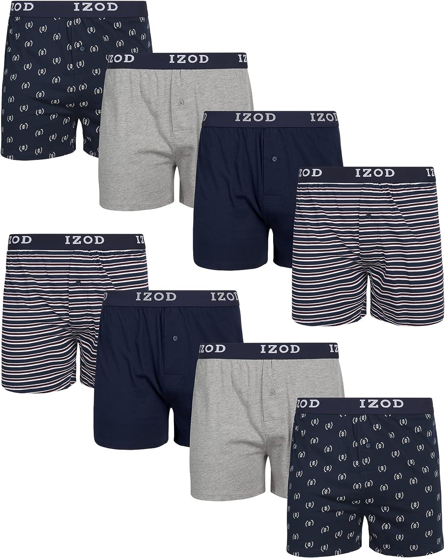 IZOD Men's Underwear - 100% Cotton Knit Boxers (8 Pack)