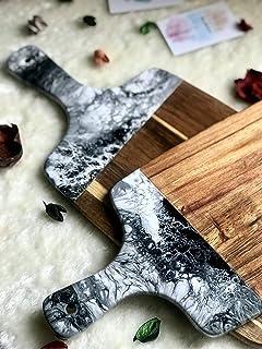 Tabla de cortar de resina negra, blanca y gris con efecto mármol 42 o 32 cm